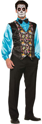 Day Of Dead Adult Men's Costume Black Sugar Skull Vest Halloween Forum Novelties