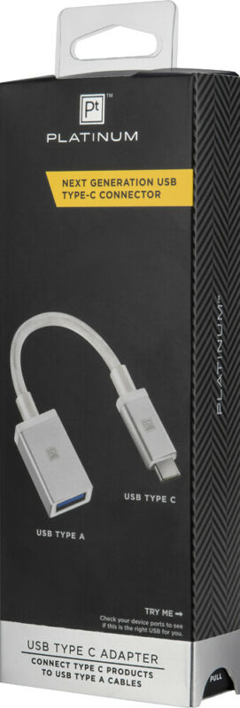 Platinum- USB Type-C-to-USB Adapter - White