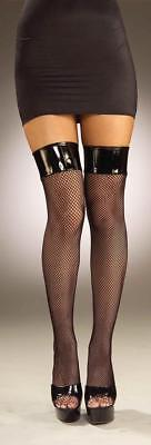 Forum Thigh High Fish Net Stocking Adult Ladies Black OS Costume 59421 FAST! B9