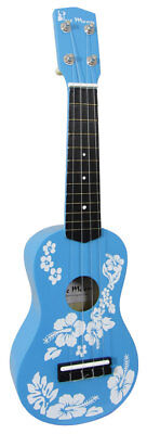 Blue Moon FLOWER UKULELE in BLUE. Budget but playable Uke ideal for children!