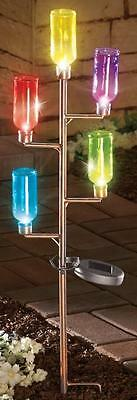 Colorful Solar Lighted Bottles On Copper Colored Tree Outdoor Yard Stake 32 5 H