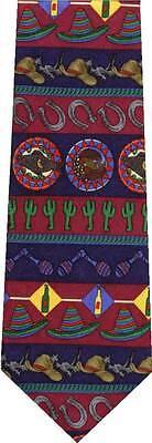 SOMBRERO CACTUS SAGUARO RED SOUTHWEST 100% SILK NEW TIE  - Red Sombrero