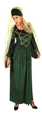 Damen Mittelalter tudor-kostüm smaragd grün keltisch Damen Kostüm Outfit NEU