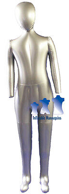 Inflatable Child Mannequin Full-size With Head Arms Silver