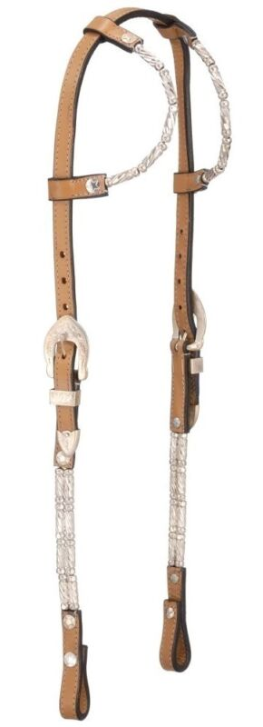 Western Silver Show Bridle - Headstall - Silver Ferrules - Double Ear -Light Oil