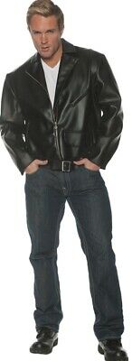 Greaser Adult Men's Black Faux Leather Jacket Grease Danny 50s T-Birds Halloween - Leather Jacket Greaser