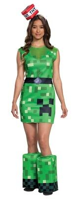 Mine Craft Halloween Costumes (Creeper Female Dress Adult Women's Minecraft Halloween Costume With )