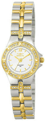 Invicta 0133 Womens Round White Analog Clear Stone Roman Numeral Watch