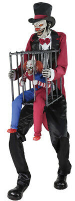 Halloween Animatronic ROTTEN RINGMASTER WITH CLOWN IN CAGE Prop Pre-Sale - Ringmaster Halloween