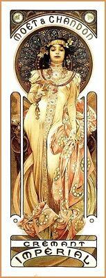 US Seller- Moet & Chandon Mucha 1899 liquor ad retro poster abstract home art