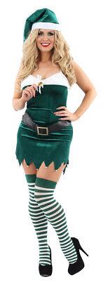 Adult Ladies Christmas Elf Fancy Dress Costume Xmas Santas Helper - Xmas Fancy Dress Kostüm