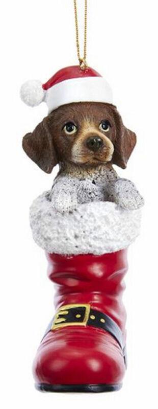 German Shorthaired Pointer Santa Boot Ornament