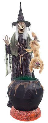 80' HALLOWEEN ANIMATED WITCH RABID CAT & CAULDRON NO FOG PROP 2017 In stock
