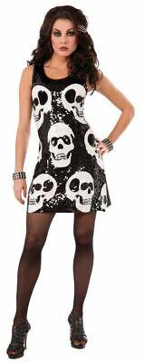 FoN - Halloween Damen Kostüm Pailletten Kleid Totenkopf