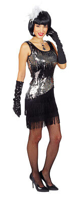 30er Jahre Kostüm (Pailletten Kleid Liza Schwarz Silber Damen Glitzer 20er 30er Jahre Gatsby Kostüm)
