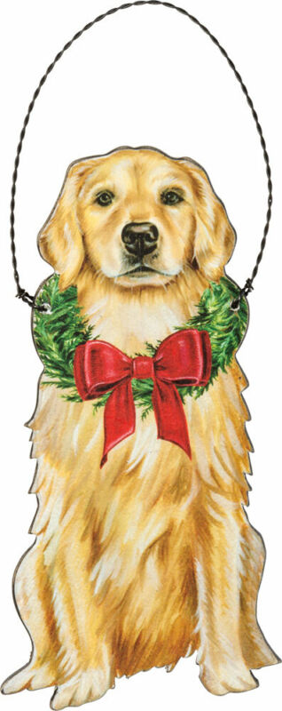 Golden Retriever Wooden Holiday Bow Ornament