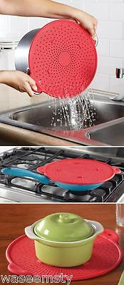 "3 in 1 Kitchen Vehemence Resistant Silicone Strainer Dishwasher Safe 11""dia"