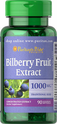 Puritans Pride Bilberry Fruit Extract 1000 Mg 90 Softgels Improves Eye Vision