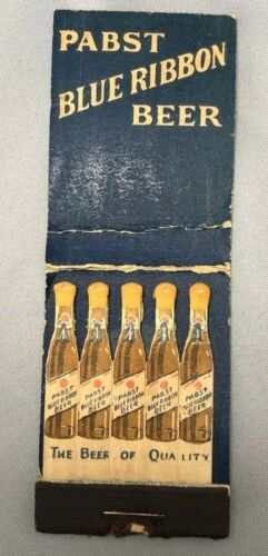 PABST BLUE RIBBON BEER Bottle FEATURE Novelty Matchbook VINTAGE Advertising