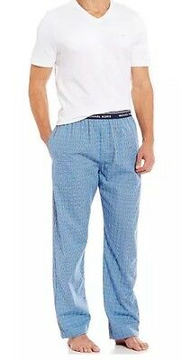 NWT MENS MICHAEL KORS SLEEPWEAR Lounge PANTS SZ L SOFT BLUE CHECK MK LOGO WAIST