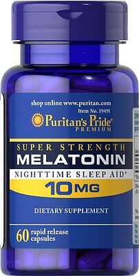 Puritans Pride Melatonin 10 Mg Sleep Aid 60 Capsules Made In Usa