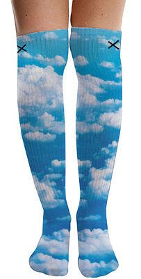 Odd Sox Womens Sky High Knee High Clouds Smoking Dope Sublimated Socks 5-11 NWT (Smoking Socks)