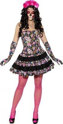 Femme Sexy Tête de Mort Calavera Jour des Halloween Déguisement Costume Tenue