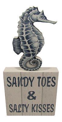Sandy Toes & Salty Kisses Box Sign Standing Tabletop Beach Theme Coastal Decor - Kitchen Decorating Themes