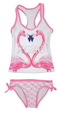 XOXO Girls White Flamingo 2pc Tankini Swimsuit  Size 4 5/6 6X 7 8/10 12/14 16 - Flamingo Girls