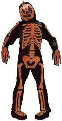 Calabaza Halloween Disfraz (Niños Calabaza Esqueleto Jack o Linterna Disfraz de Halloween 7-12ys)