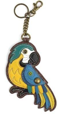 Chala Tropical Parrot Bird Blue Whimsical Key Chain Coin Purse Bag Fob Charm