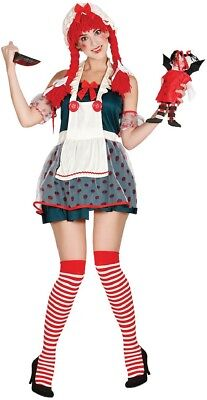 Ladies Demented Rag Doll Scary Halloween Horror Fancy Dress Costume Outfit