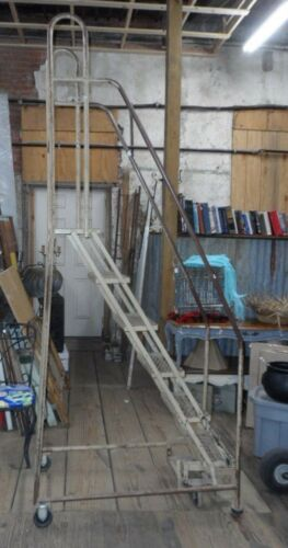 COTTERMAN INDUSTRIAL WAREHOUSE LADDER ON LOCKING WHEELS ROLLS AND TURNS GREAT