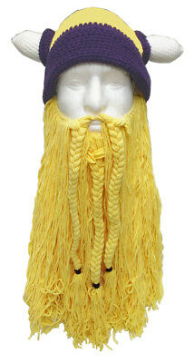 Viking Hat with Removable Beard Knitted Novelty Hat - Viking Hat Beard