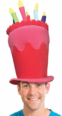 Ladies Mens Large Pink Birthday Cake Crazy Foam Hat Fancy Dress Costume Outfit