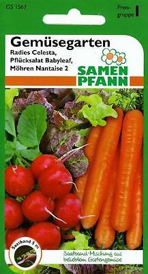 Gemüsegarten - Saatband Mischung aus Radies, Plücksalat, Möhren - Gemüse Samen