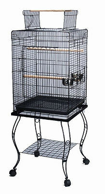 Large 20-Inches Open Play Top Parrot Bird Cage & Removable Rolling Stand BLK 357