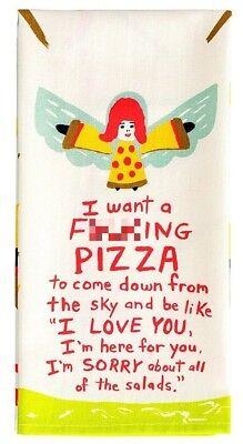 Blue Q Novelty Kitchen Dish Towel, Screen-Printed, I Want A F***ing Pizza, Beige