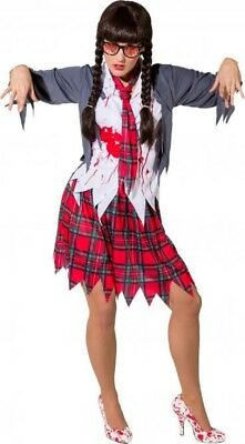 ent Zombie School Girl Halloween Fancy Dress Costume Outfit (Dead School Girl Outfit)