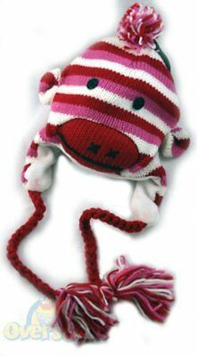 Pink Stripe Sock Monkey Hat  Adult Kids Women's Knit Bomber - Adult Sock Monkey Hat