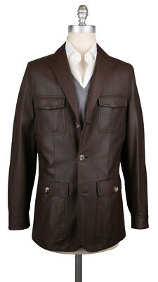 Imperfect Kiton Brown Leather Solid Jacket - (KTJKTLHSLDX16)