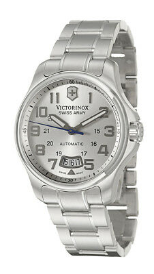 Swiss Army Officer's 125 Automatic Steel Mens Watch Silver Dial Date 241372