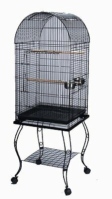 """65"""" PARROT BIRD CAGE DOMED W/STAND 20x20x53-0103-BLACK VEIN-521"""