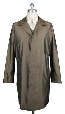New Kiton Olive Green Silk Solid Raincoat - 42/52 - (COATX10)