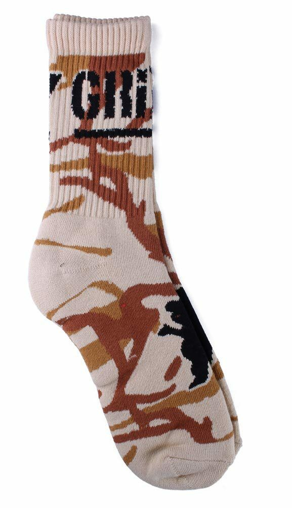 skateboarding tan branch camo crew socks large