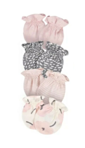 Gerber 4-Pack Baby Girl Floral Mittens, 0-3 Months