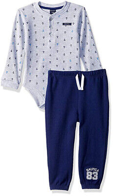 Nautica Infant Boys Gray Bodysuit & Pant Set Size 0/3M 3/6M 6/9M 12M 18M 24M