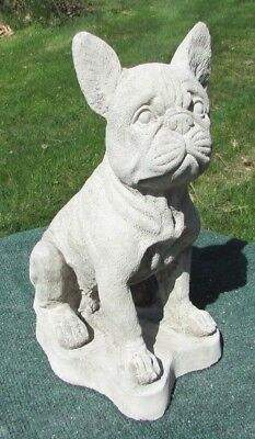 CONCRETE  FRENCH BULL DOG STATUE, MEMORIAL OR GRAVE MARKER
