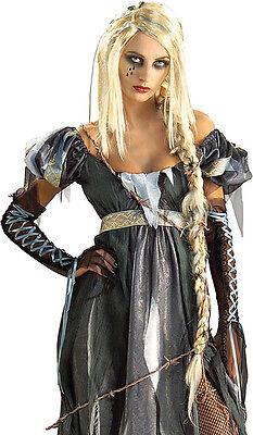 Blonde R.I.P.unzel Rapunzel Braided Halloween Costume Goth Wig w/ Fake Spiders - Halloween Costumes Ri