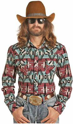 Rock and Roll Cowboy Dale Brisby Aztec Print Long Sleeve Snap